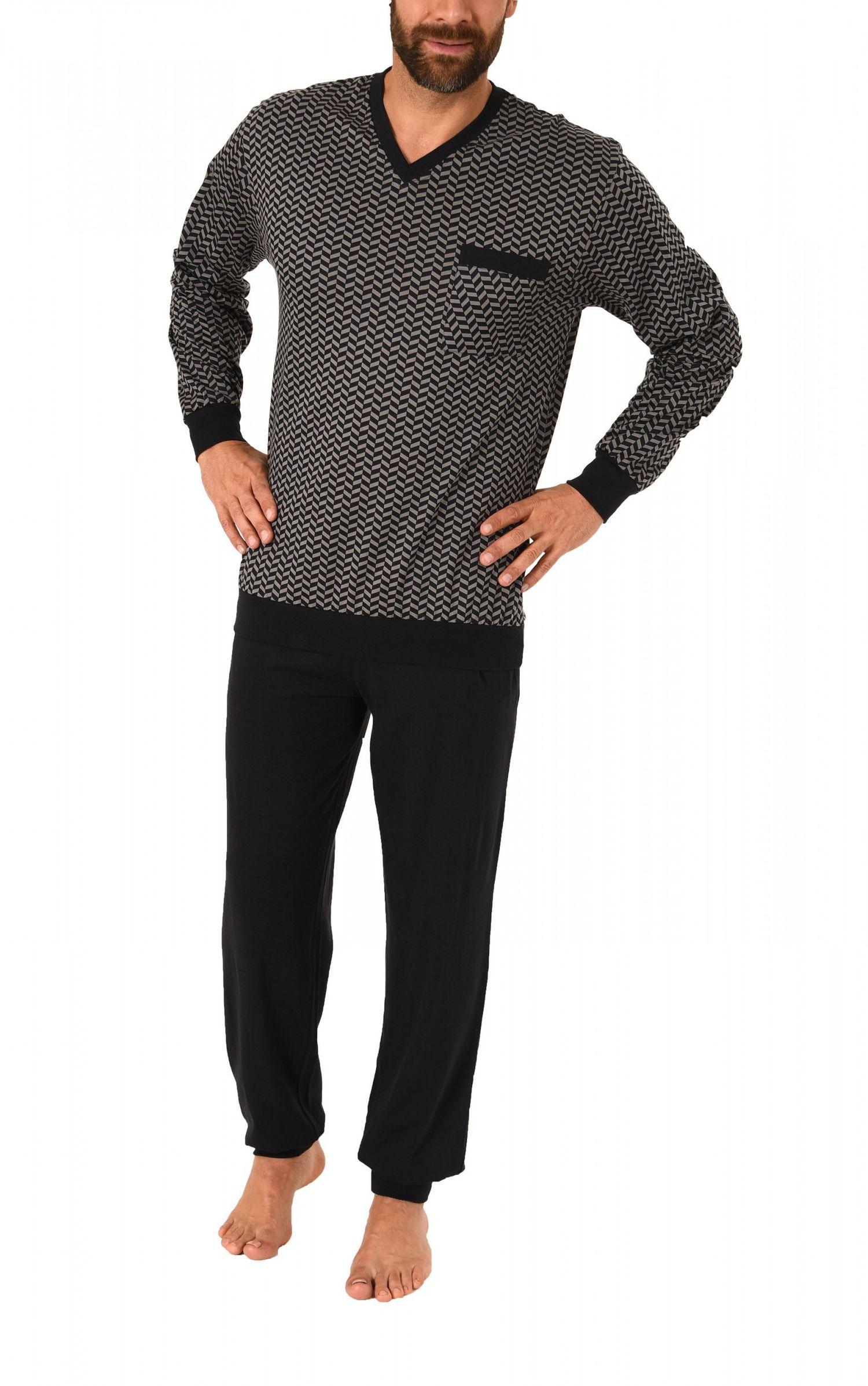 Edler Herren Pyjama Schlafanzug langarm mit Bündchen 61699 – Bild 2