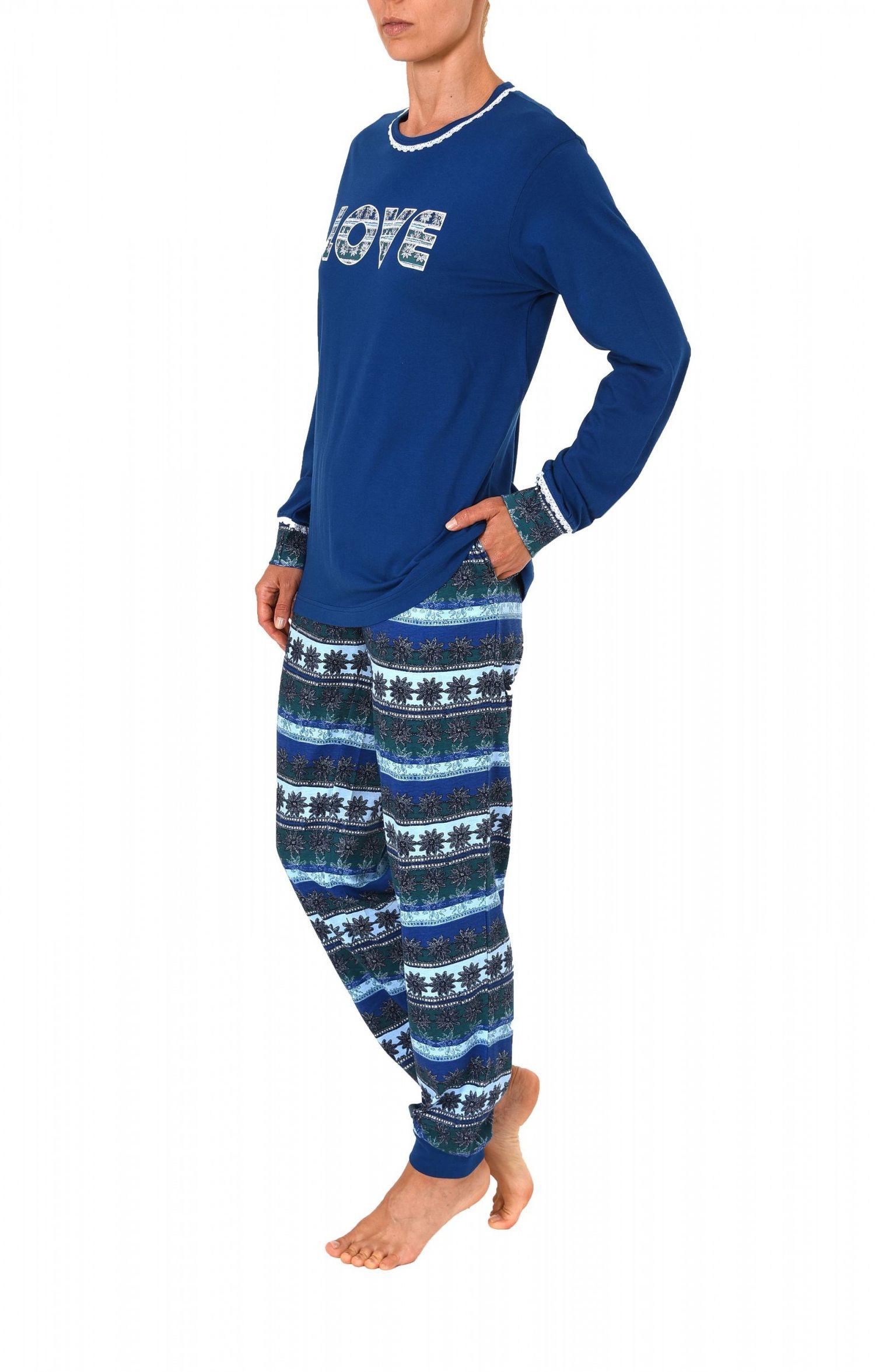 """Cooler Damen Pyjama Schlafanzug langarm mit Bündchen und Motivspruch """"Love"""" – 61559 – Bild 3"""