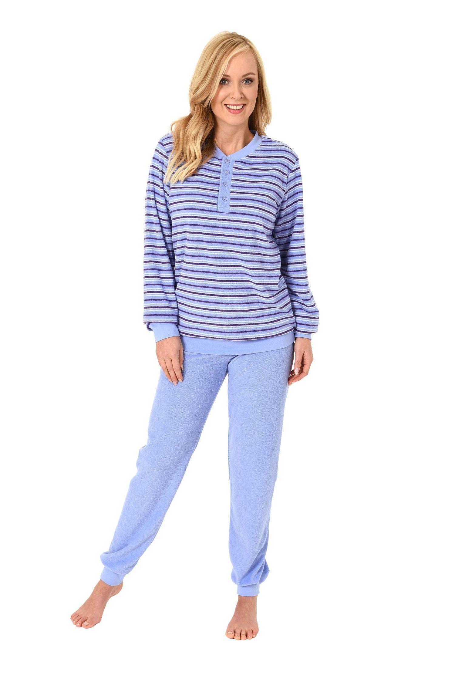 damen frottee pyjama schlafanzug langarm mit b ndchen und knopfleiste 61528. Black Bedroom Furniture Sets. Home Design Ideas