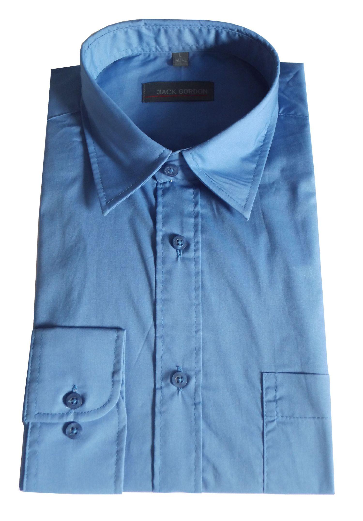 Herren Hemd langarm mittelblau - in Größe S bis XXL, 7977 – Bild 1