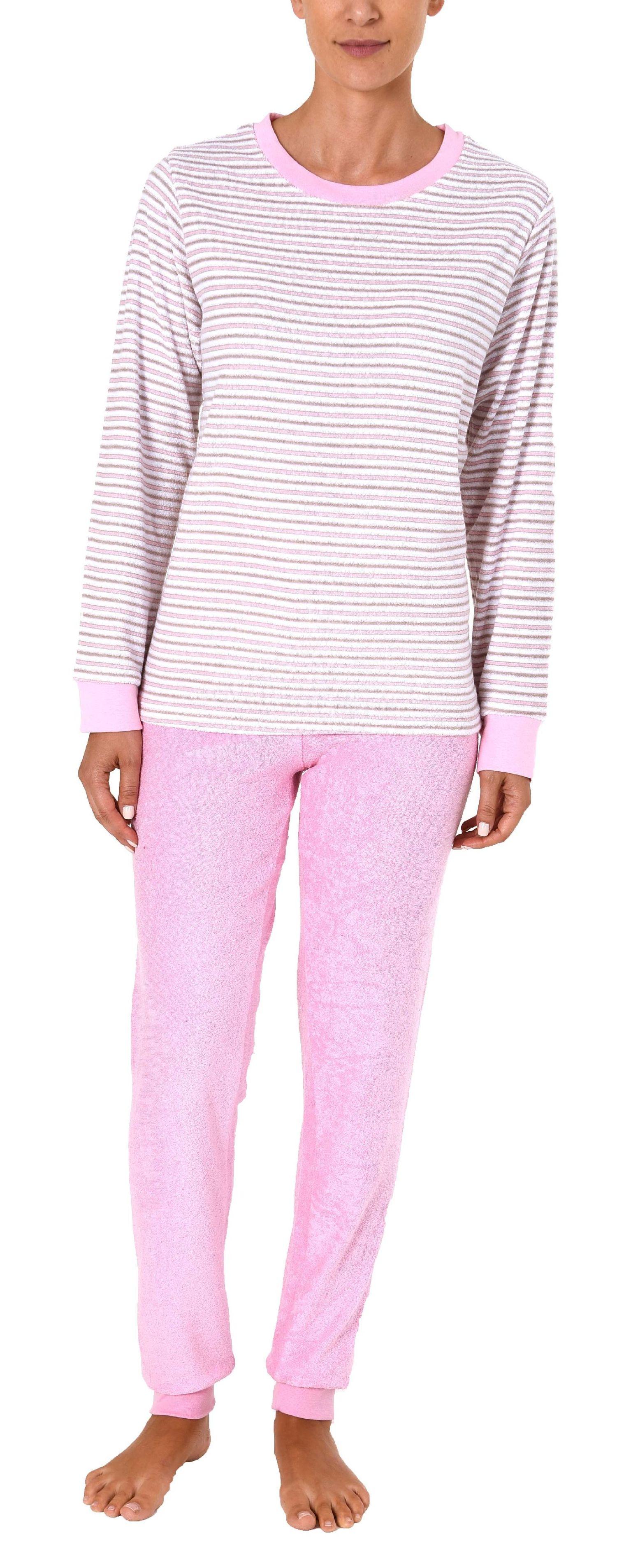 Damen Frottee Pyjama lang mit Bündchen - 61237 – Bild 2