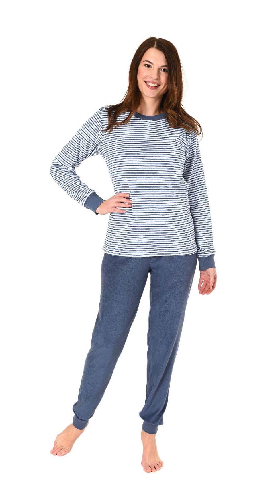 Damen Frottee Pyjama lang mit Bündchen - 61237 – Bild 1