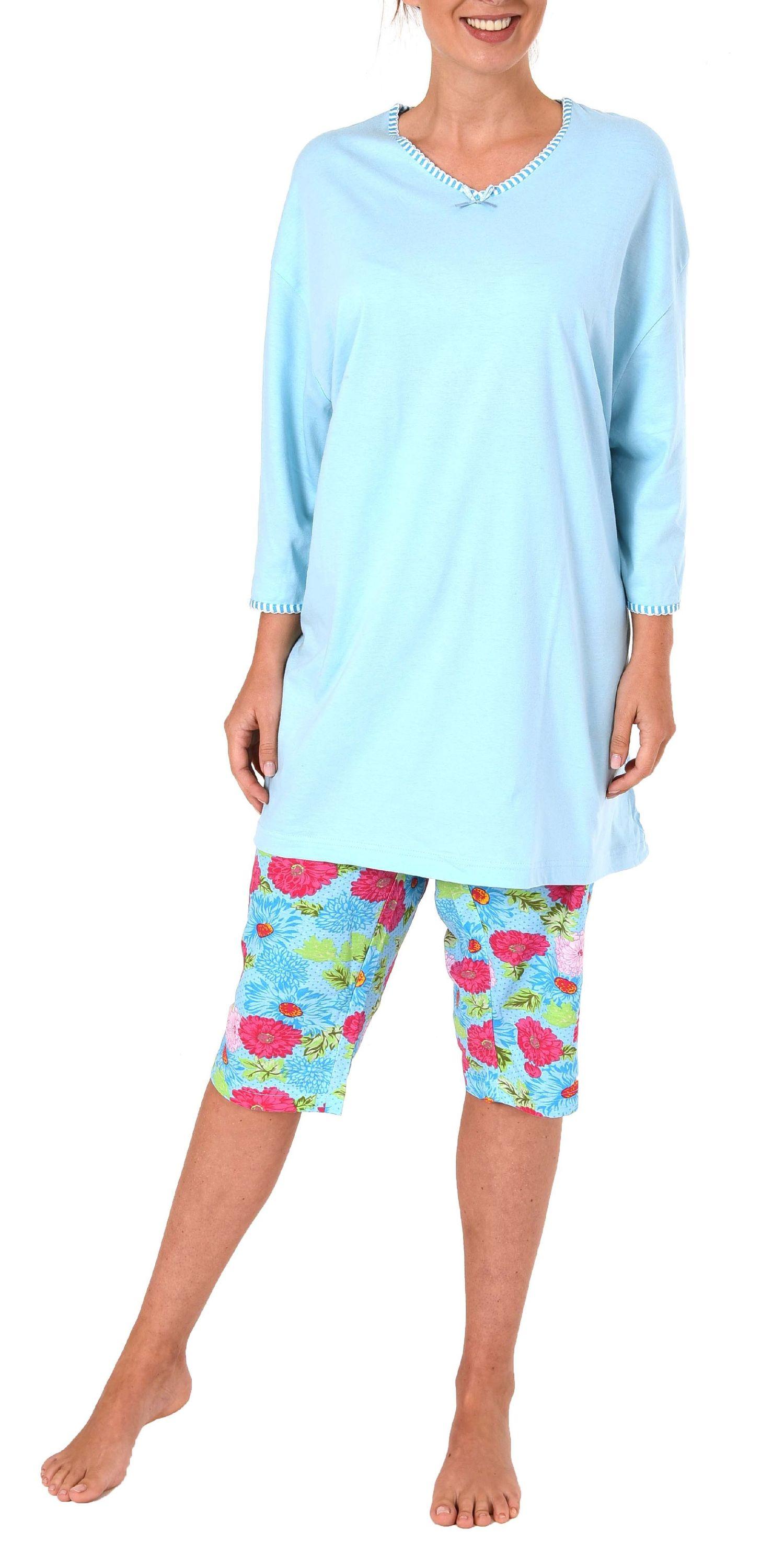Damen Capri Pyjama kurzarm Schlafanzug, Übergröße - 52511 – Bild 2