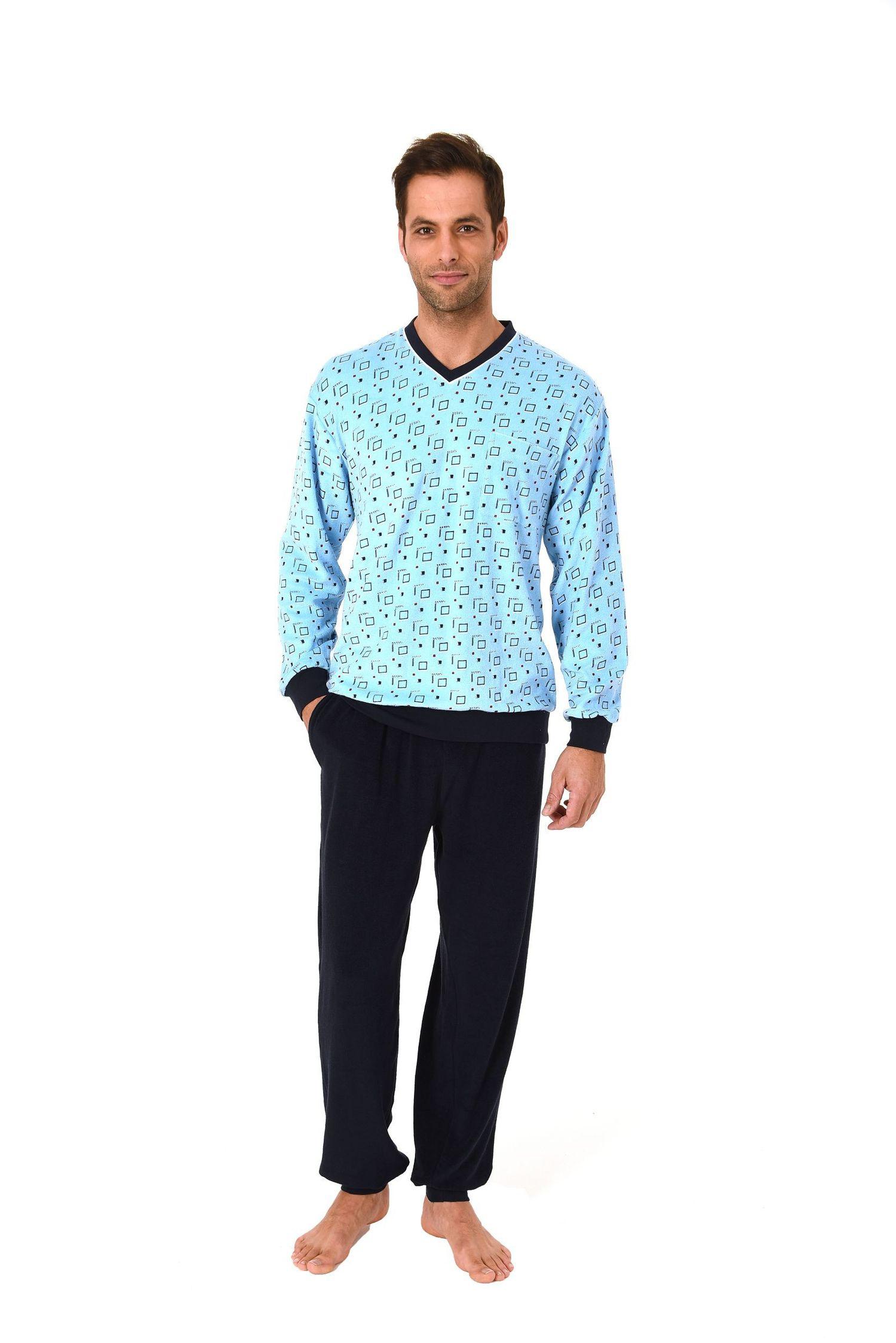 Edler Herren Frottee Pyjama Schlaganzug lang mit Bündchen – 61518