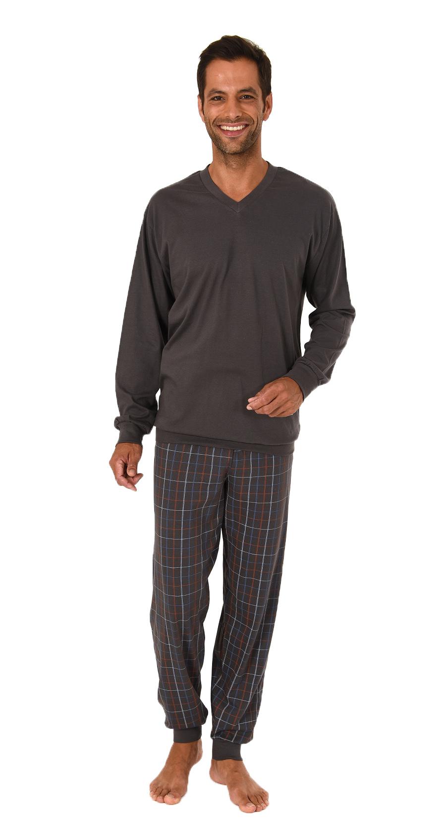 Edler Herren Pyjama, Schlafanzug langarm mit Bündchen - 61949