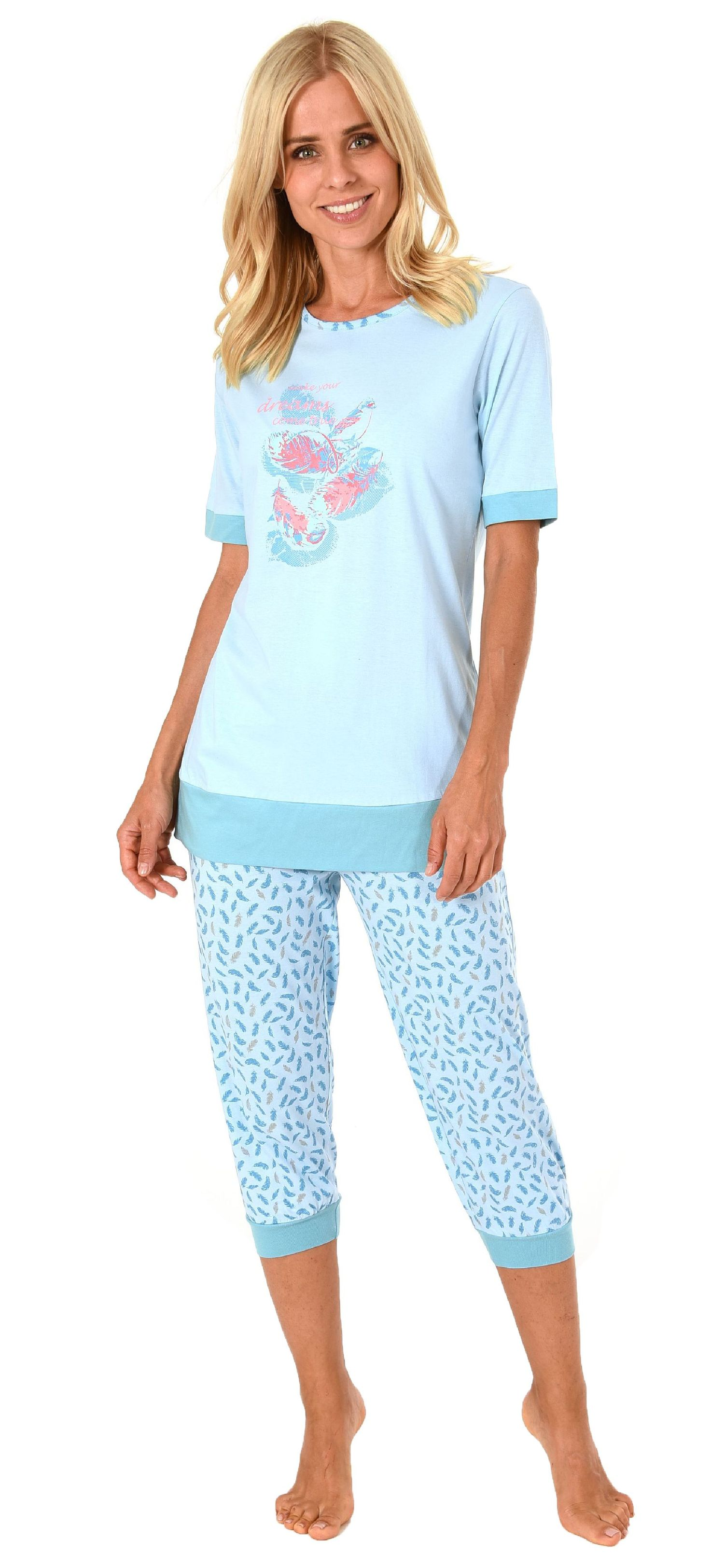 best service 92dd1 0bf1c Damen Capri Pyjama Schlafanzug kurzarm mit 3/4-langer Caprihose, Federn als  Motiv 191 204 90 212