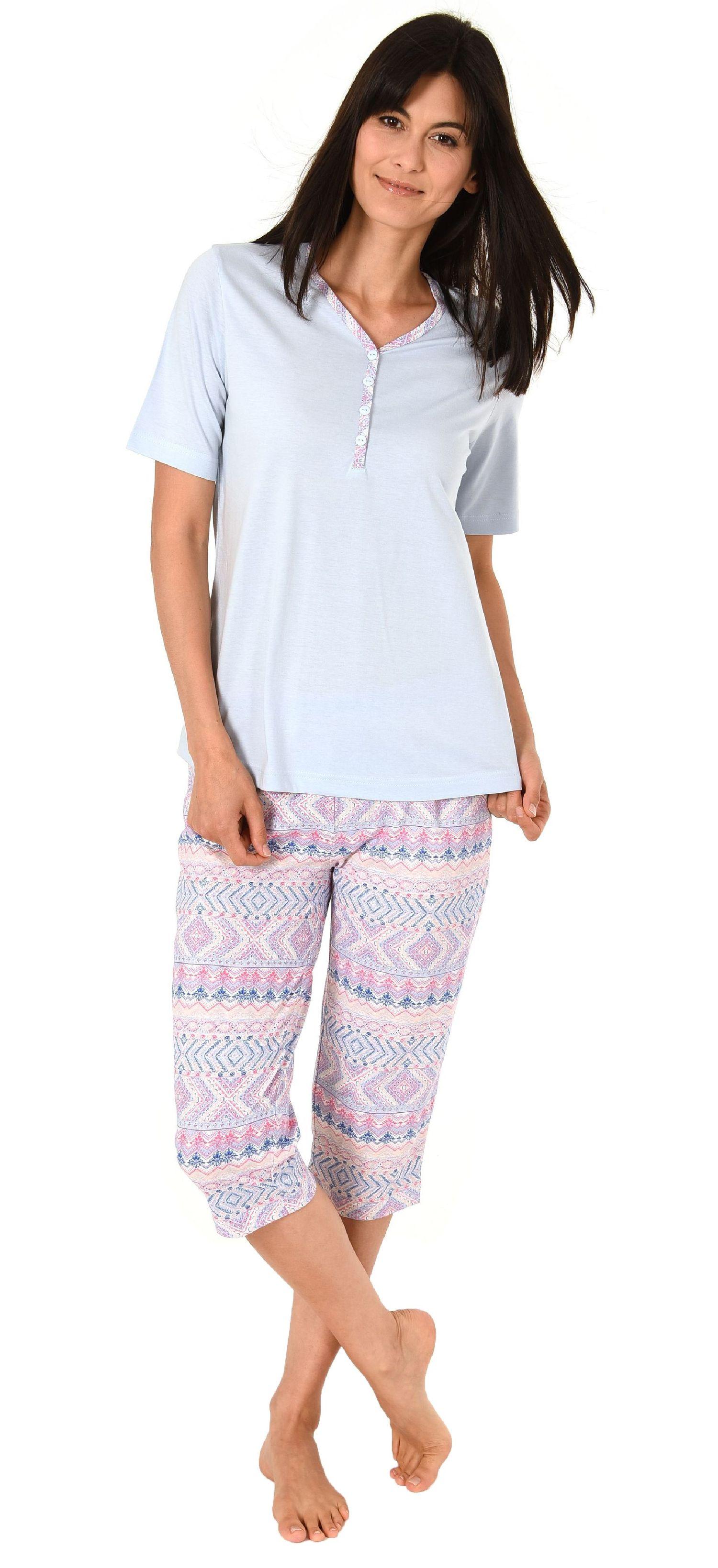 auch in Übergrössen bis Grösse 60//62 Damen Shorty Pyjama kurzarm Ethnolook