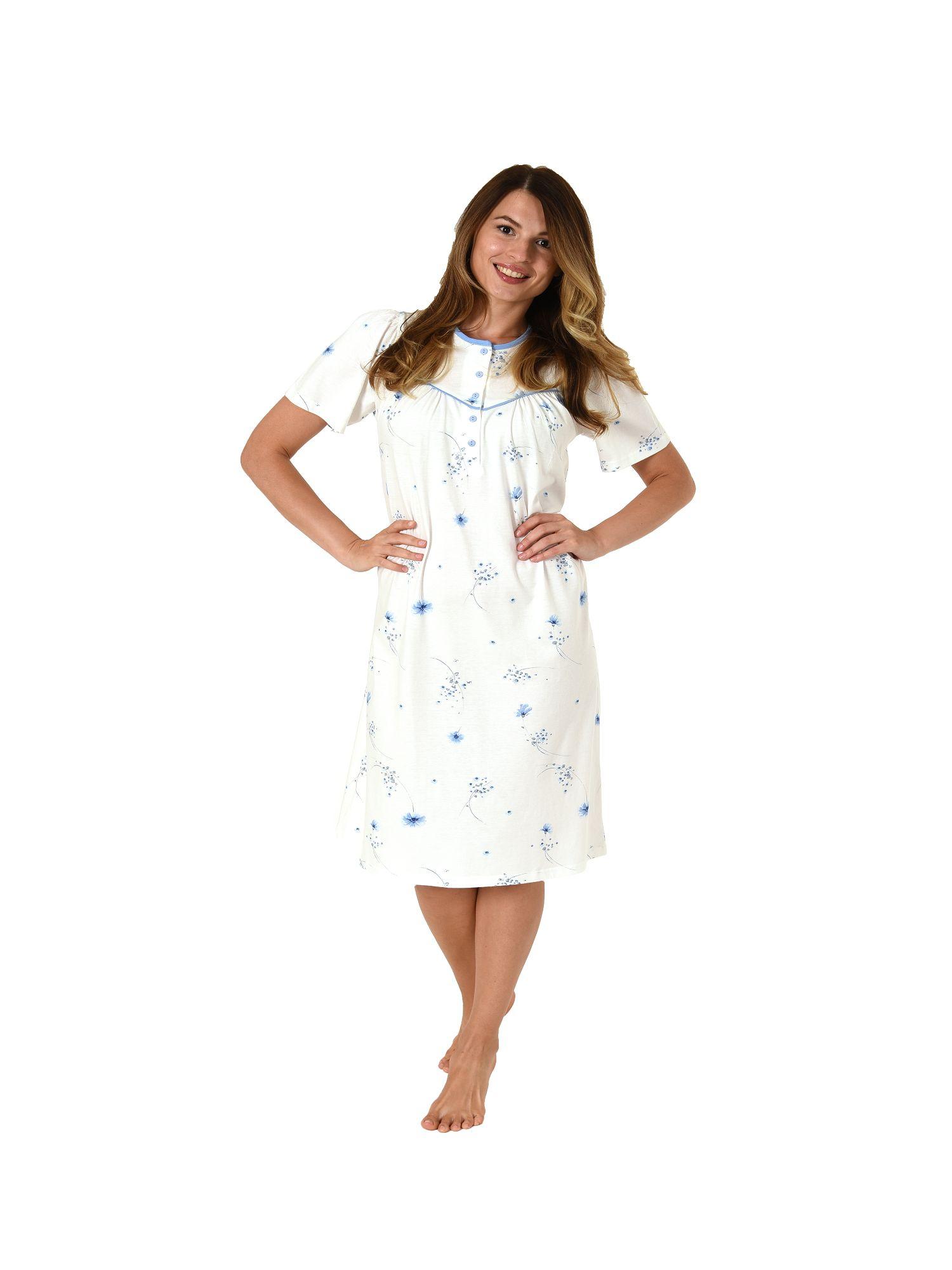 low priced 5f9b1 7f9a4 Damen Nachthemd kurzarm klassisch mit Knopfleiste am Hals 62734