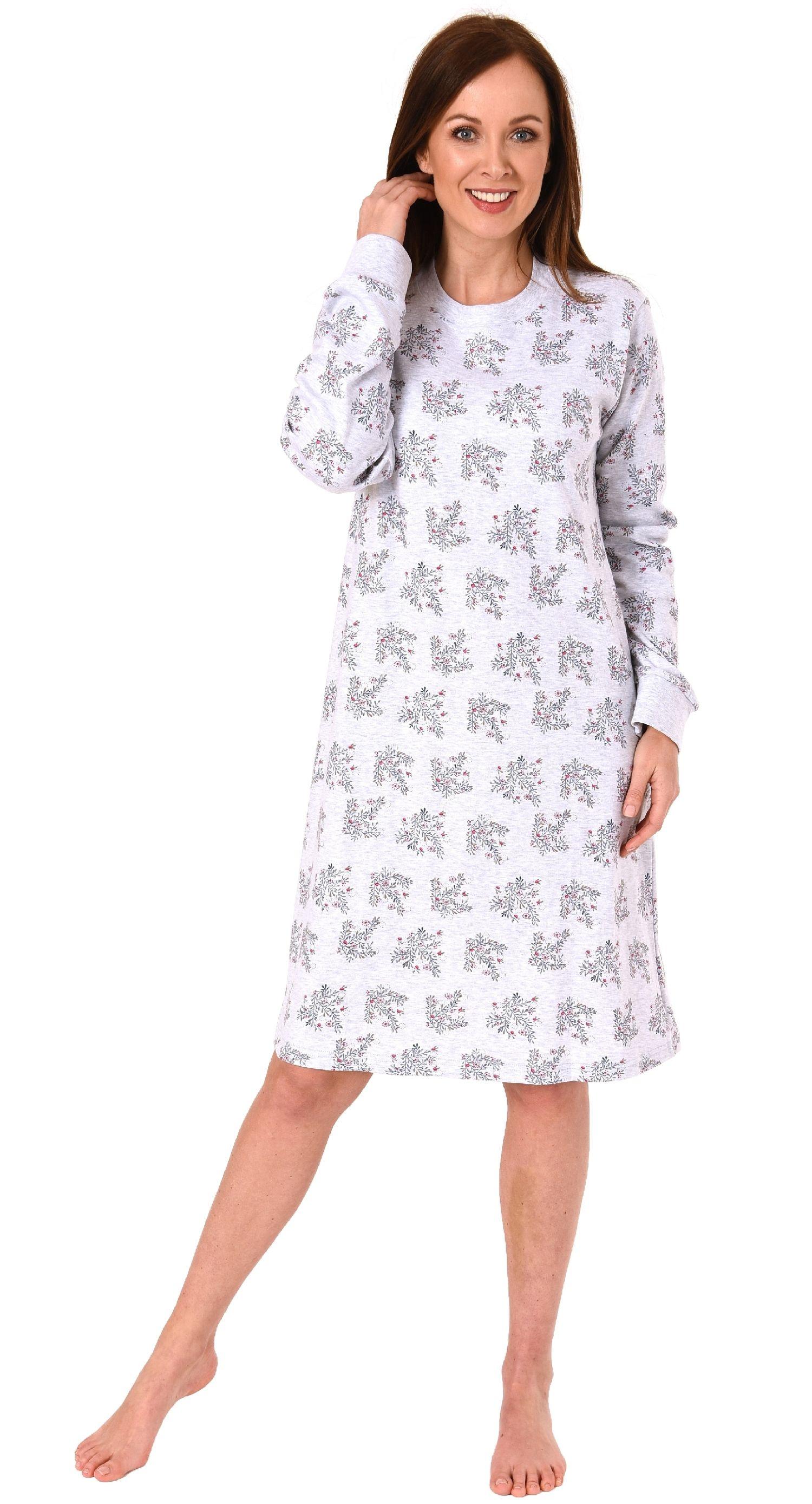 Elegantes Damen Interlock Nachthemd langarm mit Bündchen – 291 213 96 186