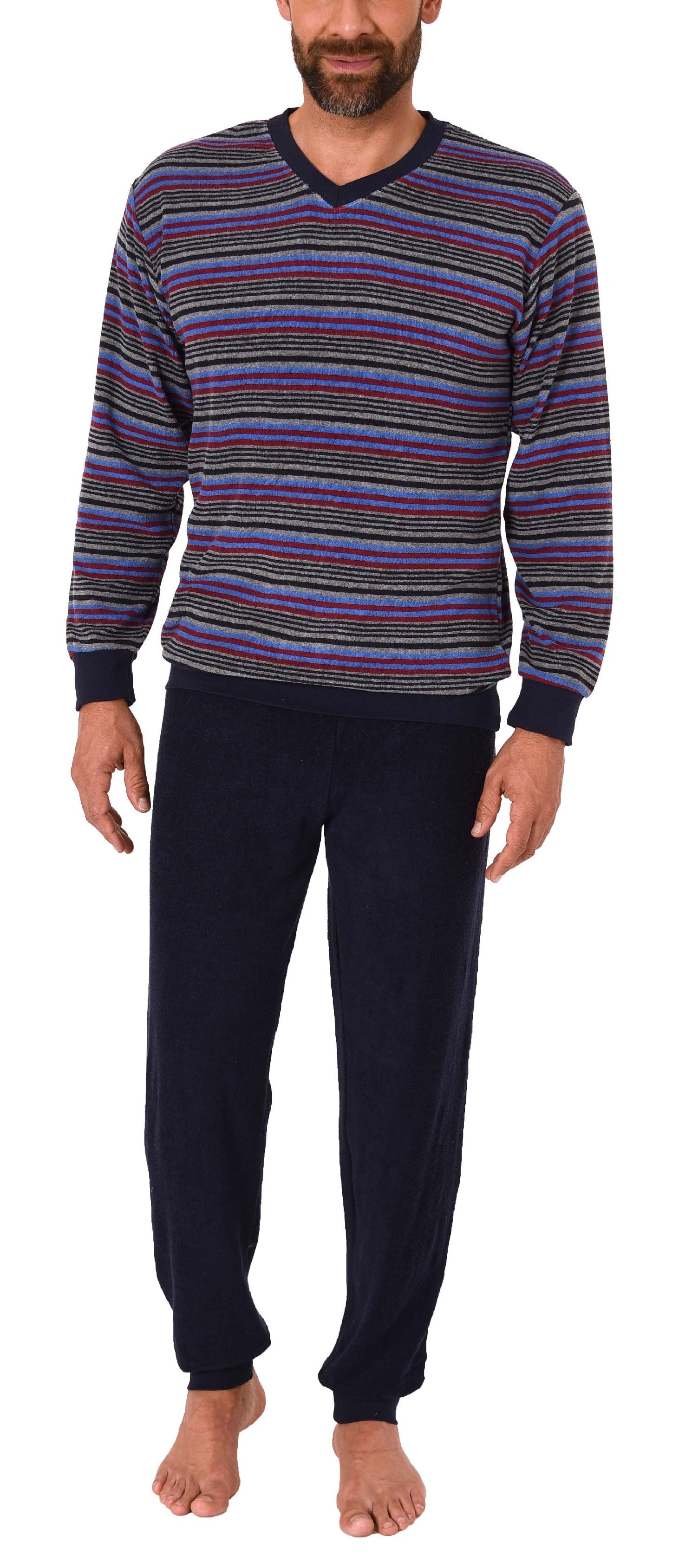 Edler Herren Frottee Schlafanzug Pyjama mit B/ündchen in Streifenoptik 291 101 13 580