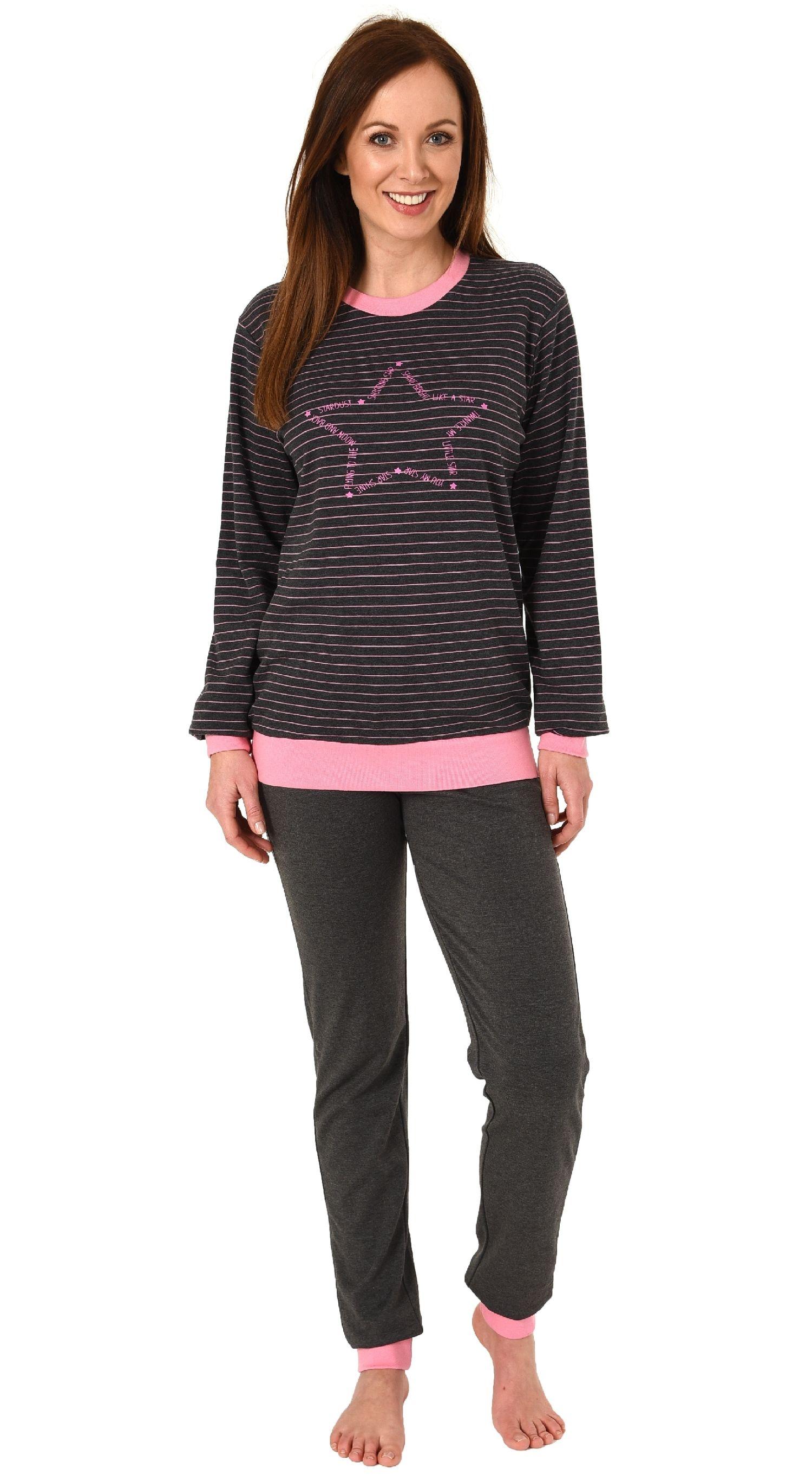 size 40 cc4d6 098b3 Damen Pyjama gestreift mit Bündchen Sterne Motiv - auch in Übergrößen -  Kuschel Interlock