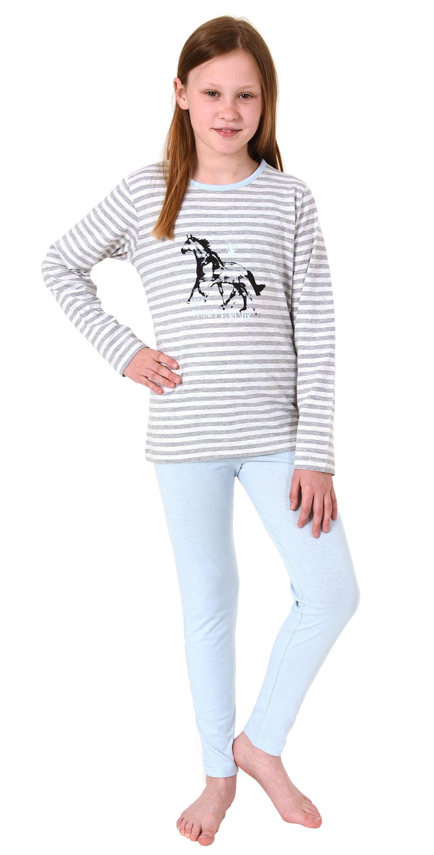 Süsser Mädchen Pyjama langarm Schlafanzug mit Pferde Motiv