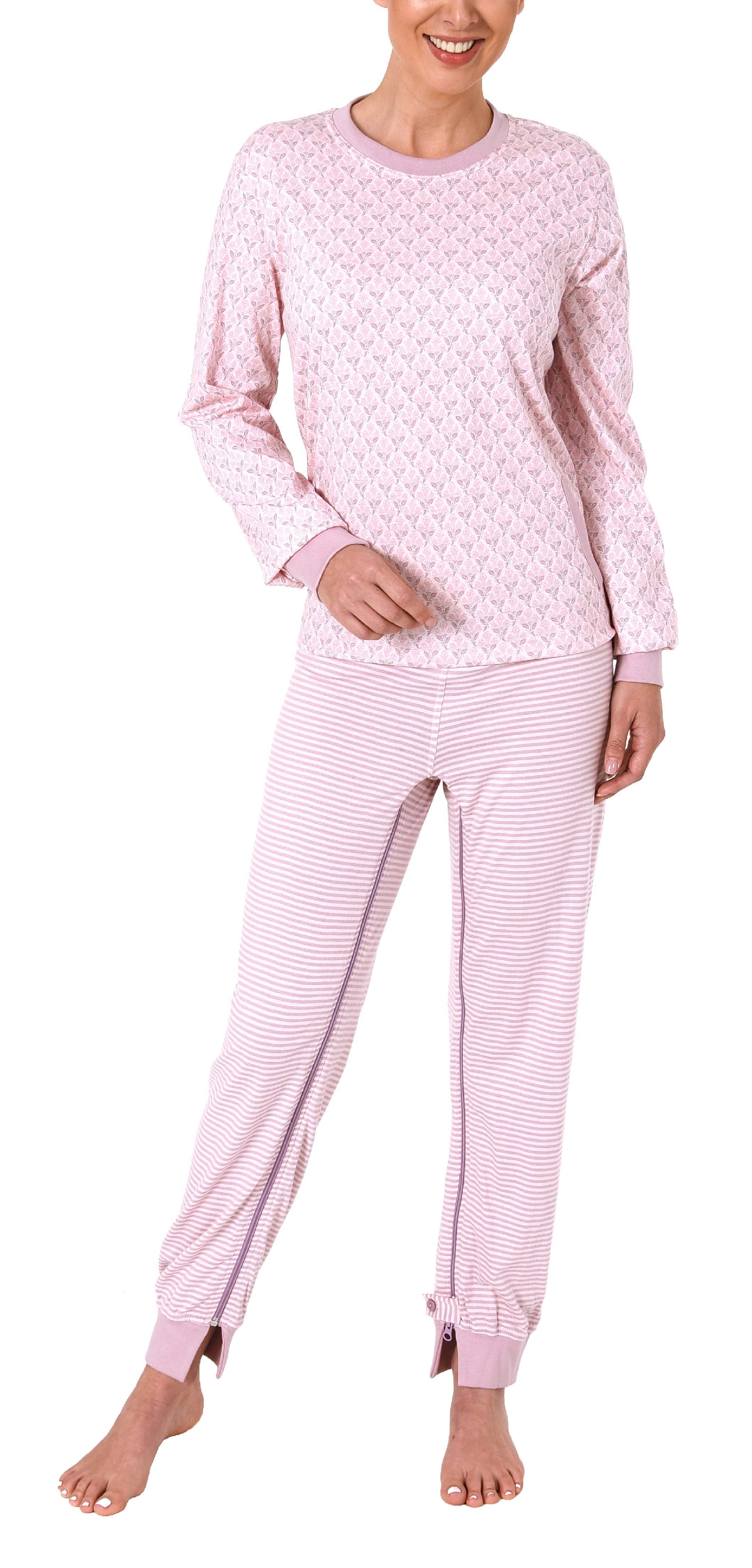 Womens Care Alzheimers Clothing Nursing Jumpsuit Pajama with Zipper at Back and Leg