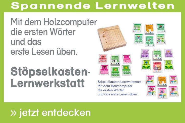 [Paket] Stöpselkasten-Lernwerkstatt - Mit dem Holzcomputer die ersten Wörter und das erste Lesen üben