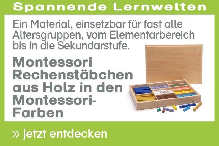Montessori Rechenstäbchen aus Holz in den Montessori-Farben
