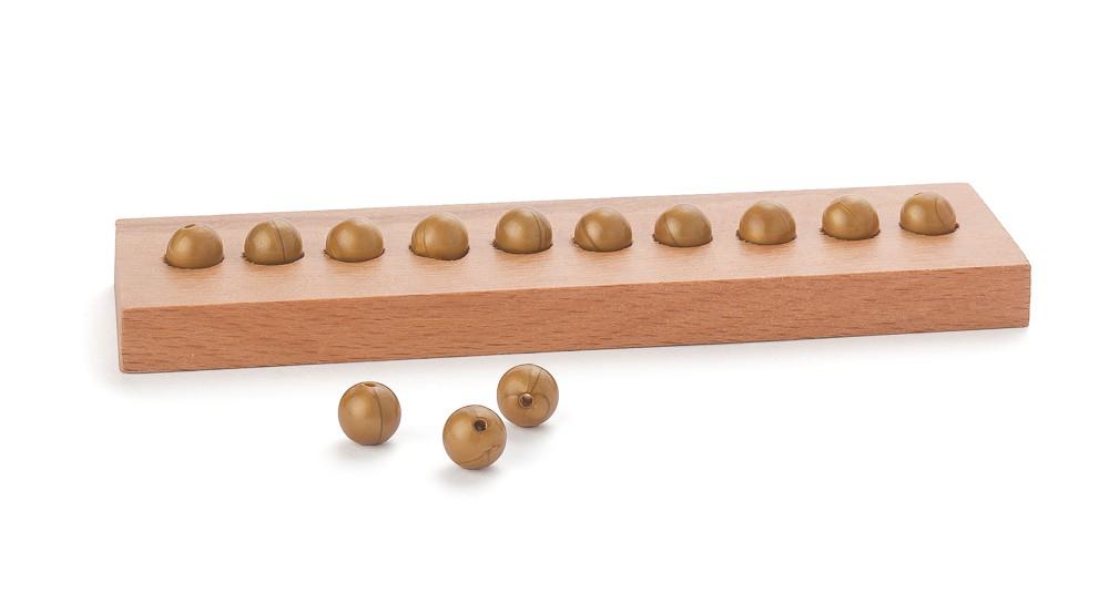Einerleiste für 10 goldene Perlen