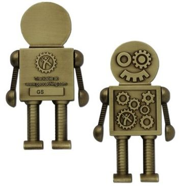 Original XXL Geocaching Steampunk Robot Geocoin Antik Gold