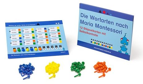 12 Stöpselkarten - Wortarten nach Montessori