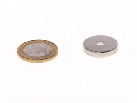Neodym-Magnet Scheibe D20x4mm mit Bohrung