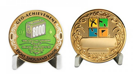 8000 Finds Geo Achievement Award Geocoin