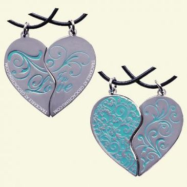 Two Hearts in Love Geocoin Set (Aqua) - Limited Edition