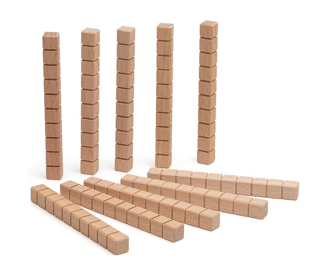 10 Zehnerstäbe vom Mathematischen Würfel aus RE-Wood®