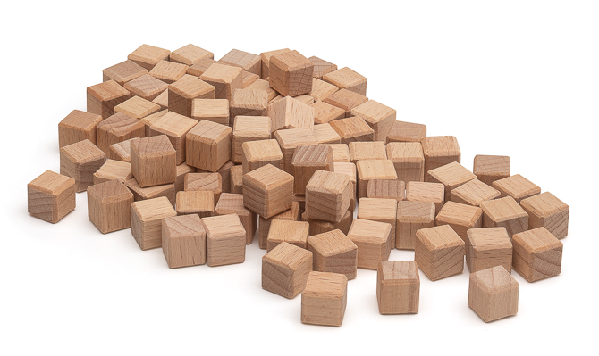 100 Einerwürfel vom Mathematischen Würfel aus RE-Wood®