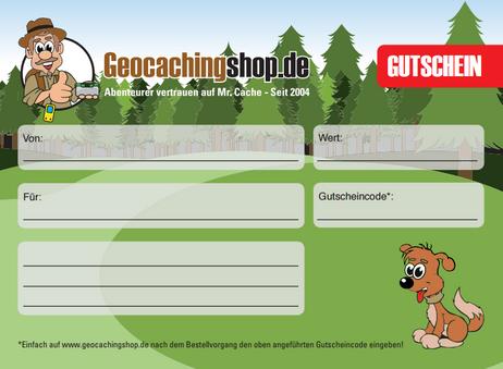 50€ Geocachingshop.de Geschenkgutschein zum Ausdrucken
