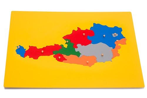 Cartina puzzle Montessori dell'Austria