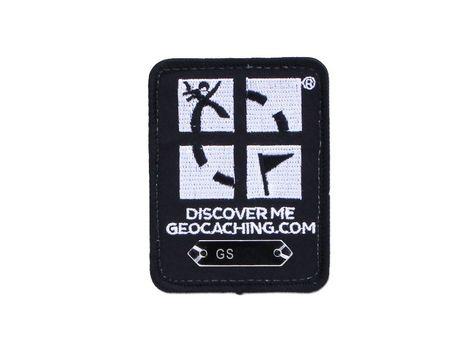 Geocaching Patch Trackable mit Klett - schwarz