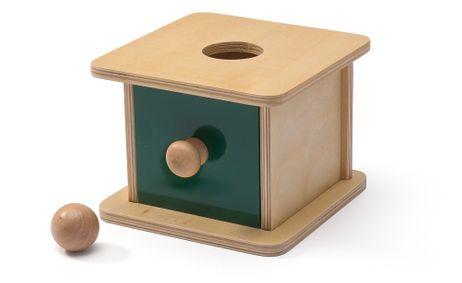Imbucare-Kasten mit einer Holzkugel