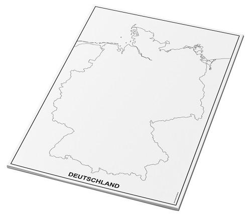 Umrisskarten Deutschland im A3-Format - Küsten und Grenze - 25 Seiten