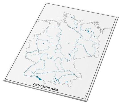 Umrisskarten Deutschland im A3-Format - Flüsse und Seen - 25 Blatt