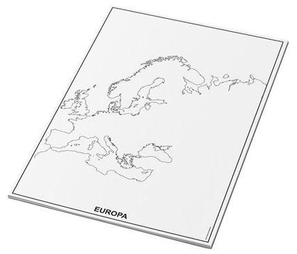 Umrisskarten Europa im A3-Format - Küsten - 25 Blatt