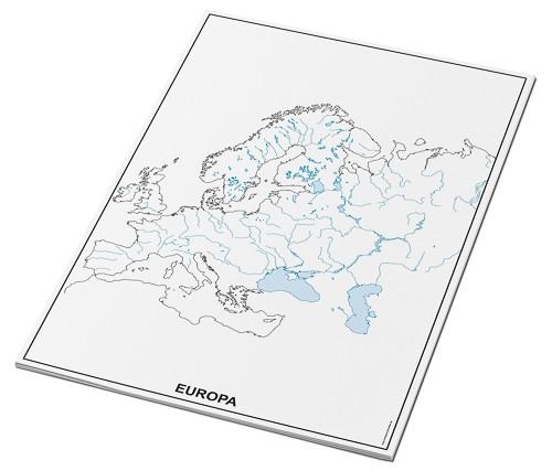 Umrisskarten Europa im A3-Format - Flüsse und Seen - 25 Blatt