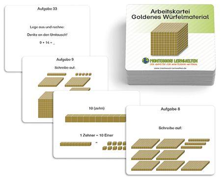 Arbeitskartei Goldenes Würfelmaterial