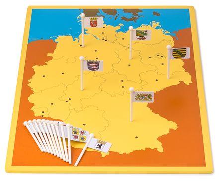 Steckkarte Deutschland Bundesländer und Hauptstädte