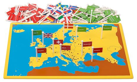 Steckkarte Europa Länder und Hauptstädte