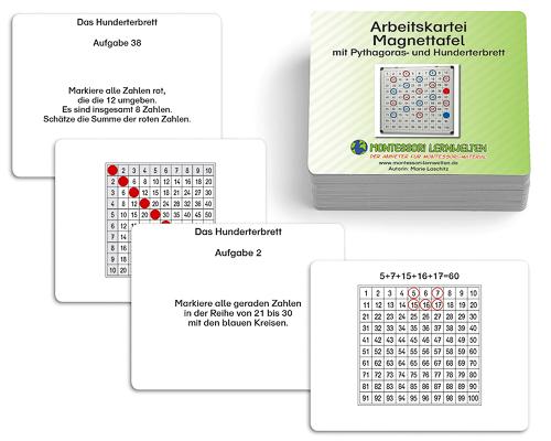 Arbeitskartei Magnettafel mit Pythagoras- und Hunderterbrett