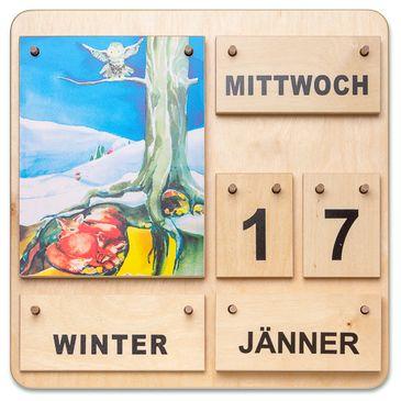 Dauerkalender Vier Jahreszeiten - Holzkalender Österreichisch