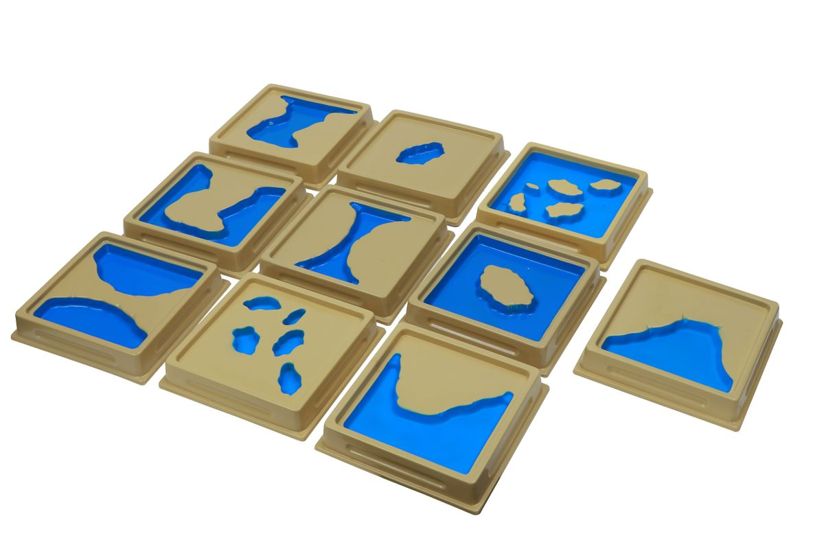Tafeln mit 10 Land- und Wasserformen