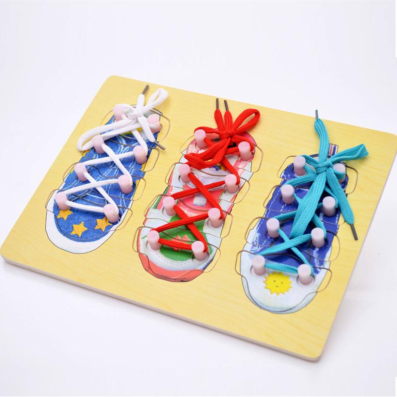 Holzpuzzle zum Schuhe binden