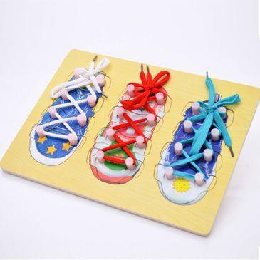 Holzpuzzle zum Schuhe binden - Schleifen üben