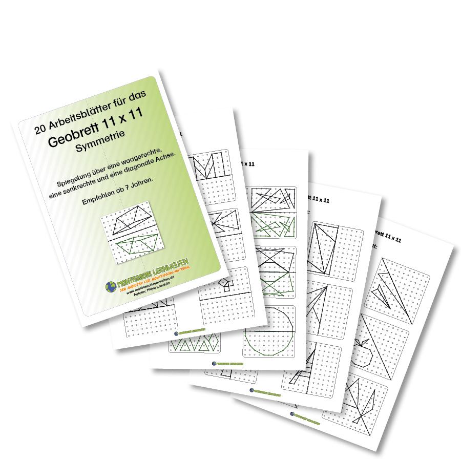 20 Arbeitsblätter für das Geobrett 11x11