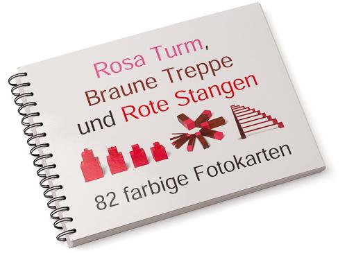Rosa Turm, Baune Treppe und Rote Stangen Arbeitskartei