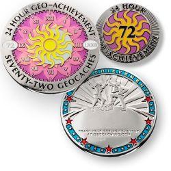 Geo-Achievement® Award Coin Set - 24 Stunden 72 Geocaches / 24 hours 72 geocaches