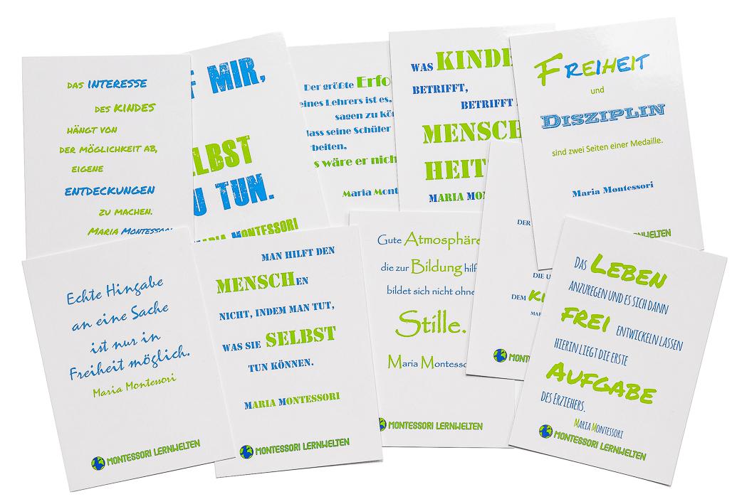 10 Montessori Postkarten mit Maria-Montessori-ZItaten