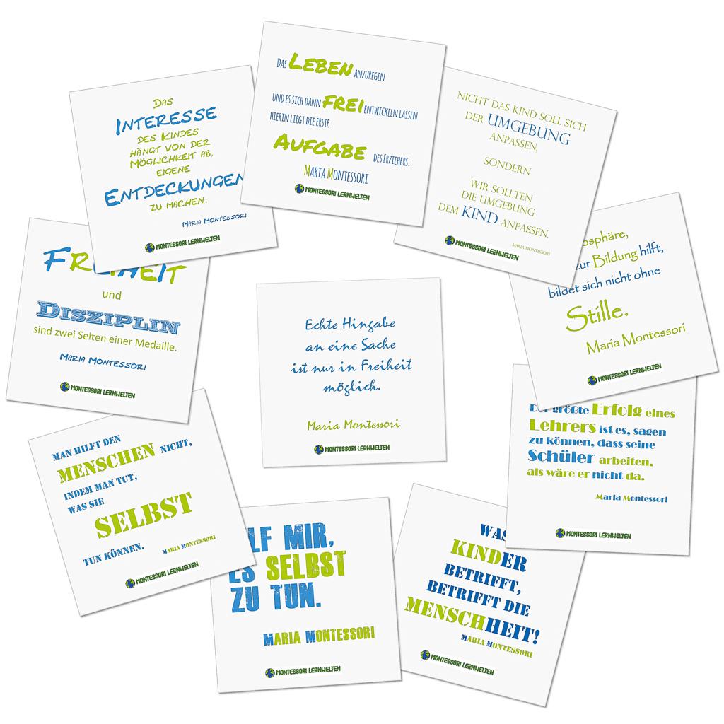 10 Montessori Poster mit Zitaten von Maria Montessori