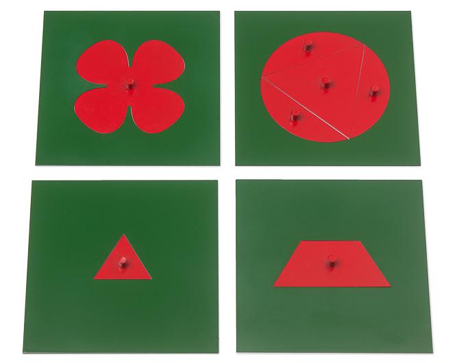 Metallene Figuren: Dreieck, Kreis, Trapez und Blume