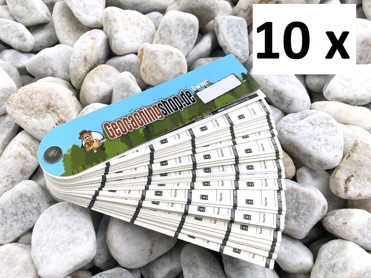 10 x wasserfestes Petling Logbuch Logbücher Kunststoff Geocaching schmal Logstre